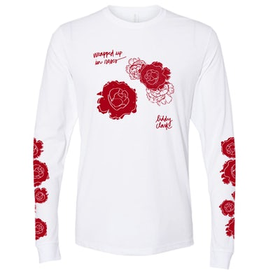 """Liddy Clark """"Wrapped up in Roses"""" Long Sleeve White Tee"""