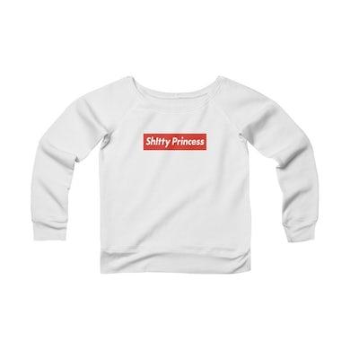 Women's Sponge Fleece Wide Neck Sweatshirt in Shitty Princess Red Logo
