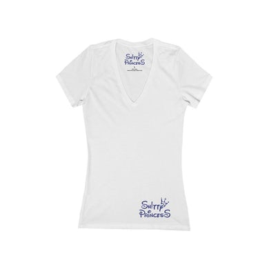 Women's Jersey Short Sleeve Deep V-Neck Tee in Shitty Princess Navy OG Small Logo
