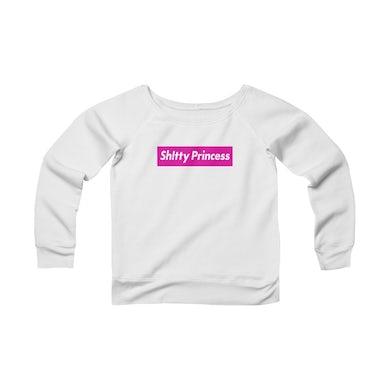 Women's Sponge Fleece Wide Neck Sweatshirt in Shitty Princess Pink Logo