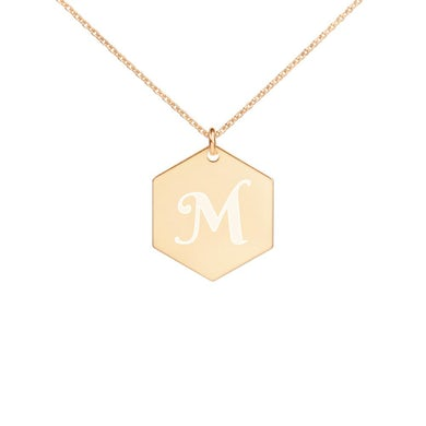 Barry Manilow M Engraved Hexagon Necklace