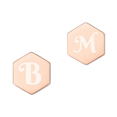 Barry Manilow M Engraved Hexagon Earrings