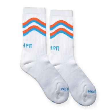 Peach Pit Wavy Crew Sock