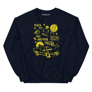 Peach Pit You and Your Friends Retro Crewneck