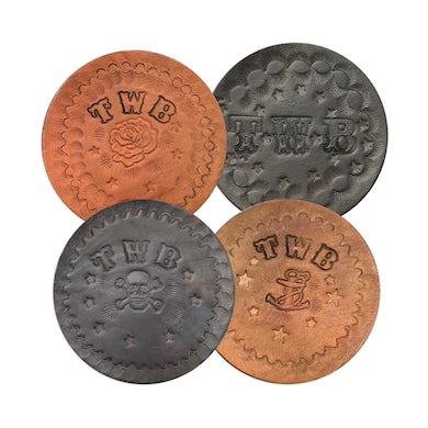 The White Buffalo  Signed Handmade Leather Coaster