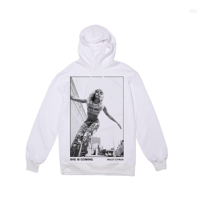 Miley Cyrus She Is Coming Photo Pullover Long Sleeve Tee White & Digital Download