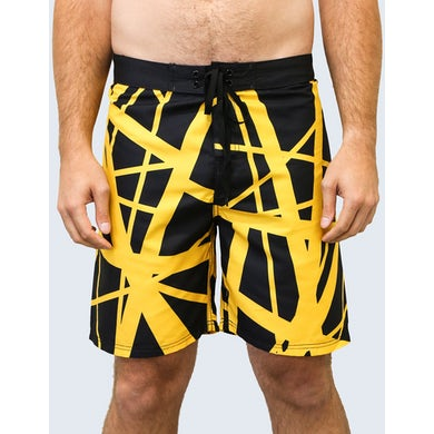 Eddie Van Halen '79 Board Shorts (Black Body/Yellow)