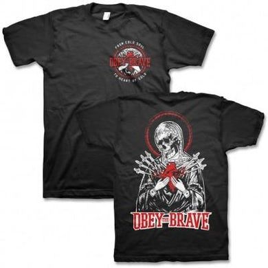 Obey The Brave Skull Heart T-shirt (Black)