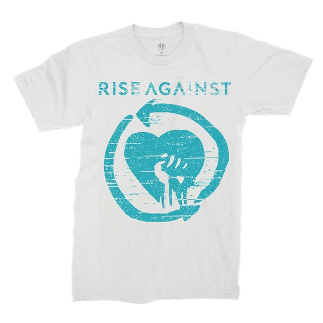 Rise Against Wolves Blue Logo Tee (White)