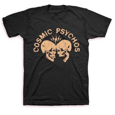 Cosmic Psychos Clashing Skulls T-shirt (Black w/ Gold Bone Print)
