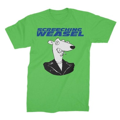 Screeching Weasel Classic Weasel Head T-shirt (Neon Green)