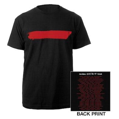 Depeche Mode Red Stripe/US Dates Black T-shirt