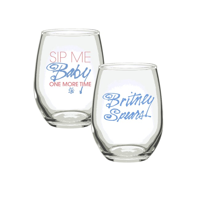 Britney Spears Sip Me Baby One More Time Wine Glass Set