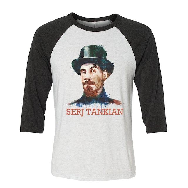 Serj Tankian Women's   Watercolor Portrait   3/4 Sleeve Baseball Tee