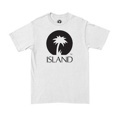 Island Records WHITE ISLAND CLASSIC LOGO T-SHIRT