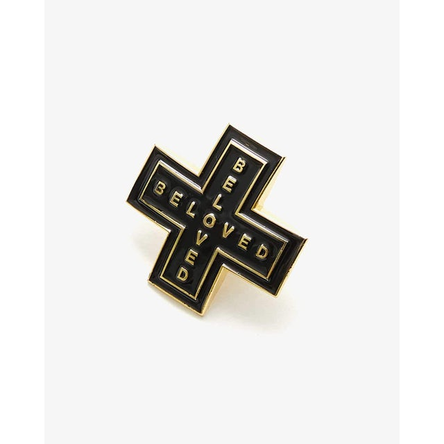 Beloved 'Cross' Enamel Pin - Black/Gold