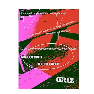 GRiZ Fillmore No-phones Party Show Poster