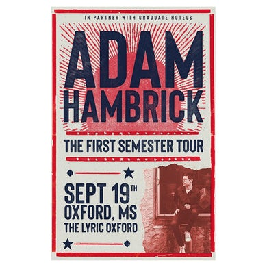 Adam Hambrick Signed Oxford Tour Poster
