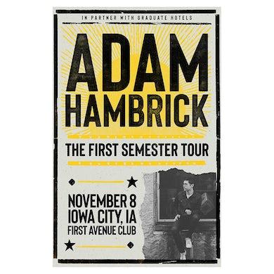 Adam Hambrick Signed Iowa City Tour Poster