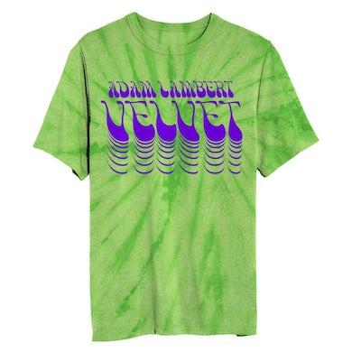 Adam Lambert Green Tie Dye  Flock Print Tee + Download