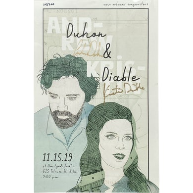 Andrew Duhon Signed One Eyed Jack's with Kristin Diable Show Poster - 11/15/19