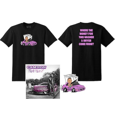 Cam'Ron Losing Weight 3 'Washing Machine' Tee in Black and Sticker + Digital Album Download