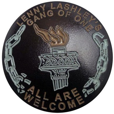 """Lenny Lashley's Gang of One Lenny Lashley Gang of One - All Are Welcome - Torch - 1.25"""" Enamel Pin"""