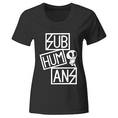 Subhumans - Small Skull & Three Part Logo - Black - T-shirt - Fitted