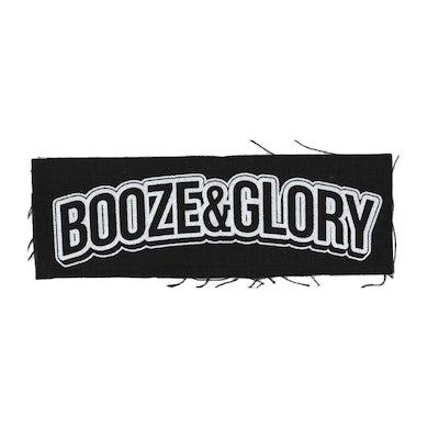 "Booze & Glory - Text Logo - Black - Patch - Cloth - Screenprinted - 8"" x 3"""