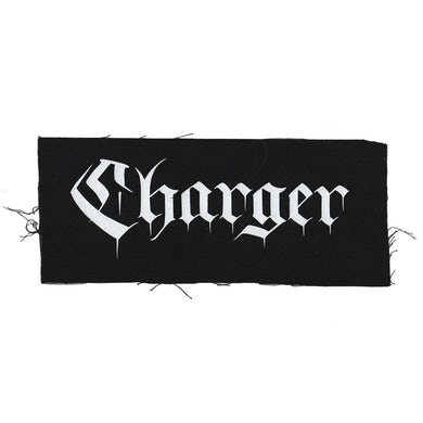 """Charger - Text Logo - Black - Patch - Cloth - Screenprinted - 12"""" x 4"""""""