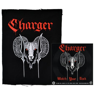 """Charger - Ram with Red Text - Black - Back Patch - 14"""" x 19"""""""