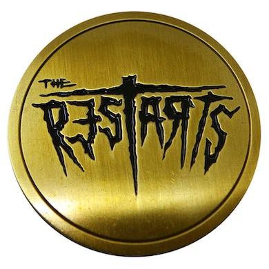 "The Restarts - Logo - Bronze on Black - 1.5"" Enamel Pin"