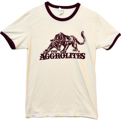 The Aggrolites - Aggropanther - Natural & Maroon Ringer - T-Shirt