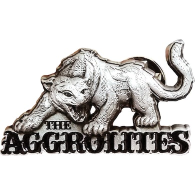 """The Aggrolites - Aggropanther - 1.5"""" Enamel Pin - Silver w/ Black 3D"""