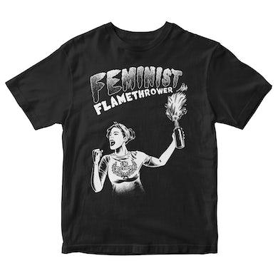 The Drowns - Feminist Flamethrower - White On Black - T-Shirt