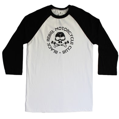 Black Rebel Motorcycle Club SKULL & PISTONS WHITE & BLACK RAGLAN
