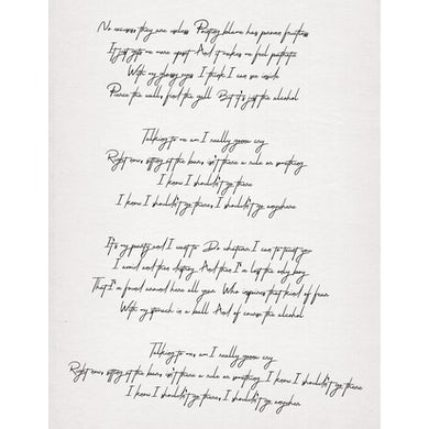 Jillette Johnson Handwritten Lyric Sheet