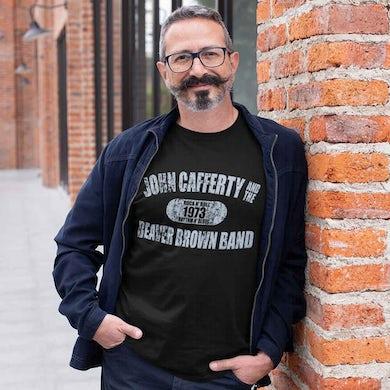 JOHN CAFFERTY Distressed Blue Logo T-Shirt