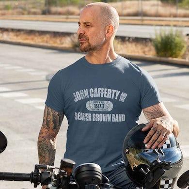 JOHN CAFFERTY Distressed 1973 Logo Blue T-Shirt