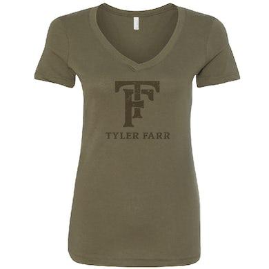 Tyler Farr Ladies Military Green V Neck Tee