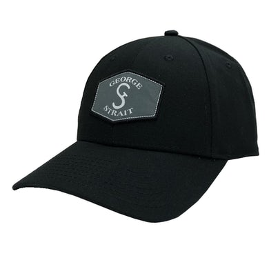 George Strait Black Ballcap w/ Patch