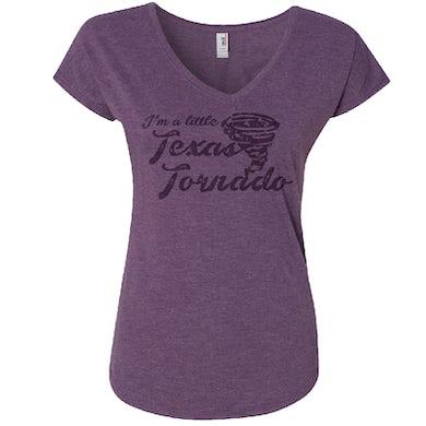Tracy Lawrence Ladies V Neck Purple Texas Tornado Tee
