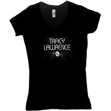 Tracy Lawrence Ladies Black V Neck Tee with Silver Foil