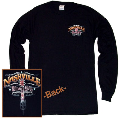Richards And Southern Nashville Long Sleeve Black Tee- Front Left Chest
