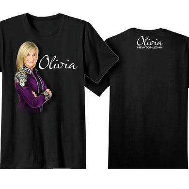 Olivia Newton John Black Tee- Purple Jacket
