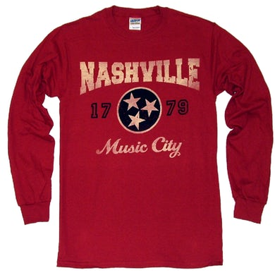 Richards And Southern Nashville Long Sleeve Cardinal Red Tee