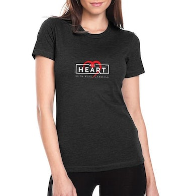 Ladies Relax Fit Black All Heart Crew Neck Tee
