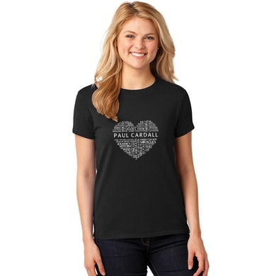 Ladies Relax Fit Black Word Heart Tee