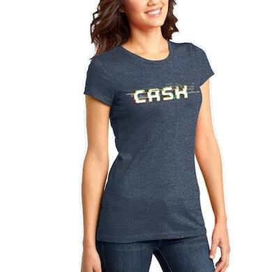 Cash Campbell Heather Navy Logo Tee