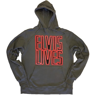 Elvis Lives Charcoal Pullover Hoodie